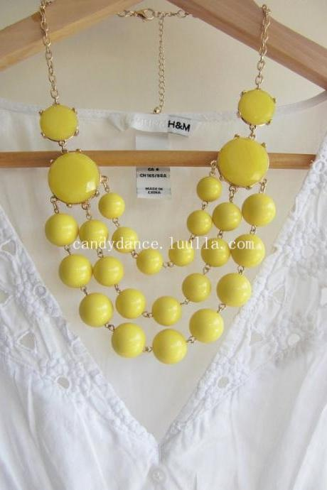 Multilayer Lemon Yellow Beads Bubble Statement Necklace,Bid necklace.Women jewelry