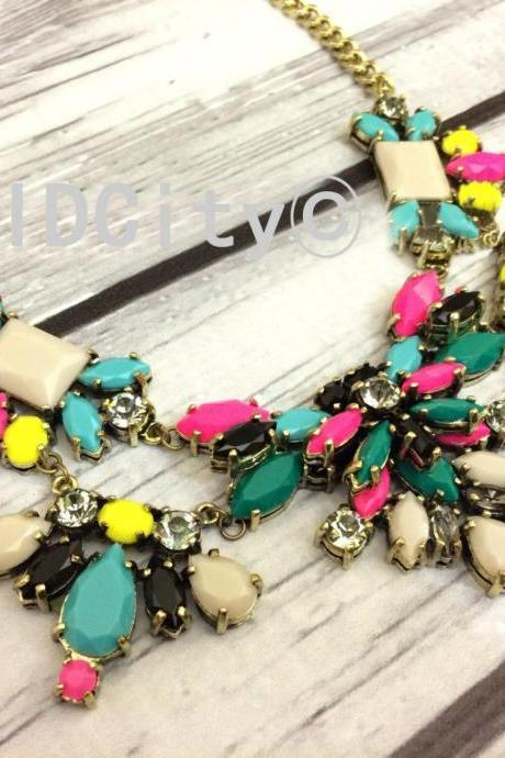 Technicolor floral neon statement necklace bid necklace statement necklace