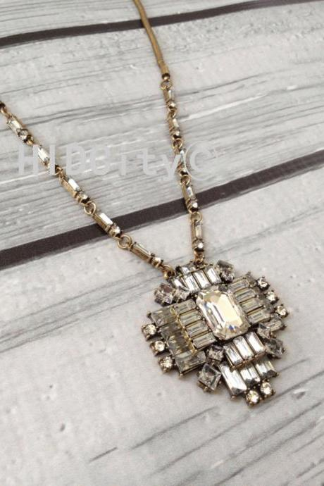 Deco crystal cluster pendant statement necklace crystal necklace bid necklace