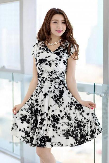 White Dress for Women Printed Black Berries Summer Spring Dresses Free Shipping