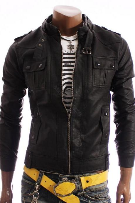 Handmade men slim leather jacket, black biker leather jacket