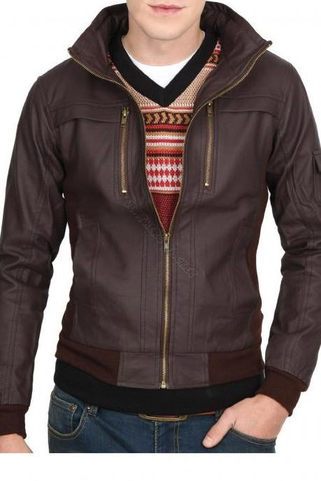 Handmade men slim leather jacket, brown biker leather jacket