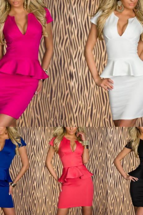 Hot Sale Women Sexy Fashion U-neck OL Peplum Dress Party Bodycon Mini Dresses Pink Black White Blue Red 5163