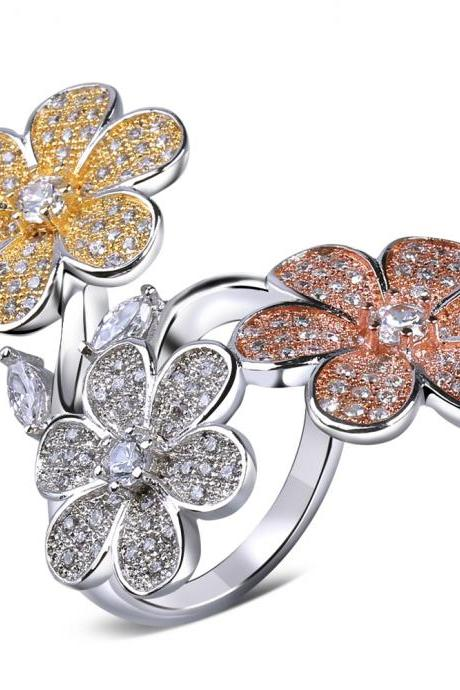Cubic zircon flower rings for women with 18K Gold plate and White Gold Plated Zircon Ring Elegant design Big rings for women