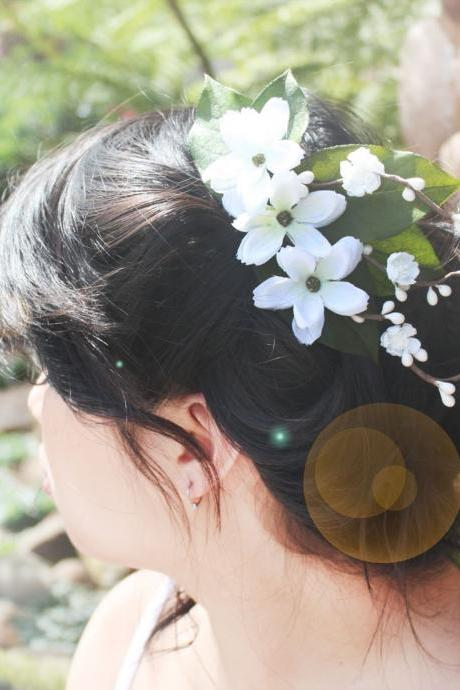 bridal flower hair comb, wedding hair comb