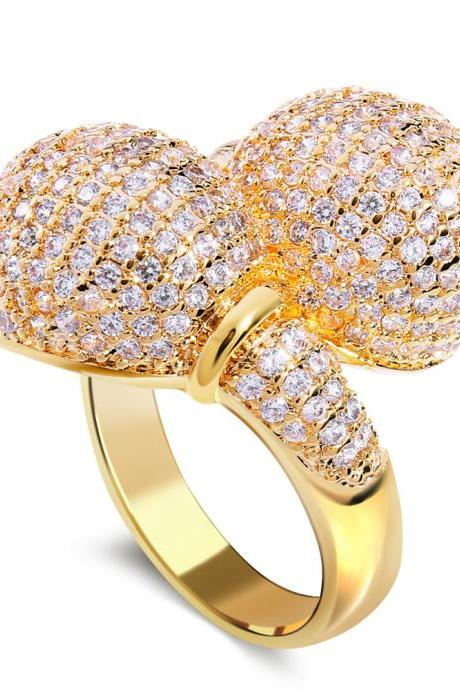 Latest Square Design Lady Luxury Party Rings AAA Quality Cubic Zirconia 402 Pieces Micro Pave Setting Platinum & 18K Gold Plated