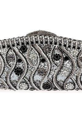2014 Hot Silver crystal Evening Wedding Bridal Metal purse clutch bag case handbag (0890)