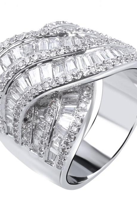 Luxury big zircon rings for women paved with AAA clear cubic zirconia with Platinum and 18k real gold plated