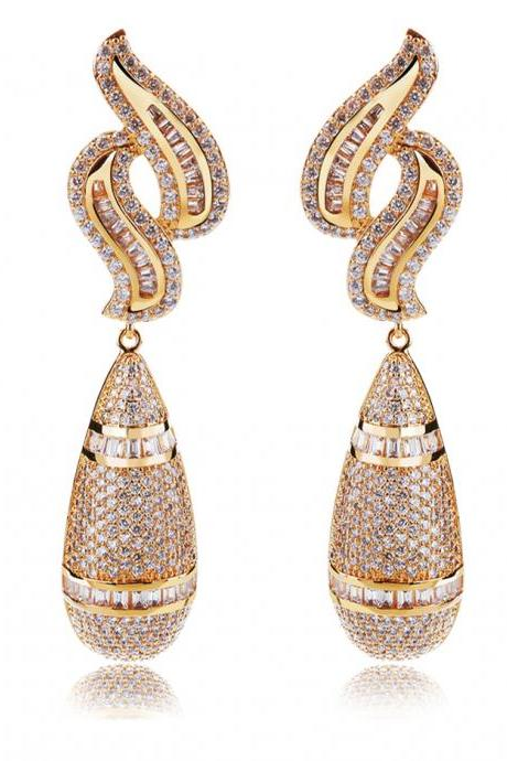 New Arrive AAA Cubic Zirconia Women Water Earrings 580 pcs CZ Micro Pave Setting Bridal Wedding