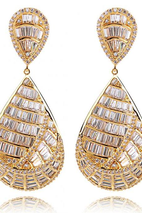 Party earings gold plated with zirconia, New arrival 2014 earrings new brands, Wedding bridal earrings, Zircon earrings