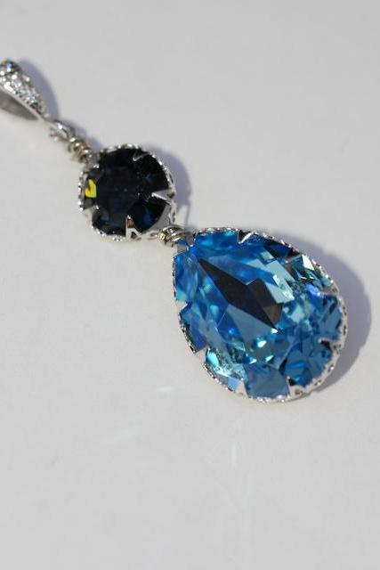 CZ Detailed Pendant with Swarovski Round Montana Blue and Aquamarine Teardrop Crystals - Wedding Jewelry, Bridal Jewelery (P062)