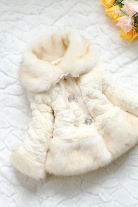 Ivory Fur Coats For Toddler Girls Off White Color Jackets Winter Thick, Super Soft Ivory Jackets
