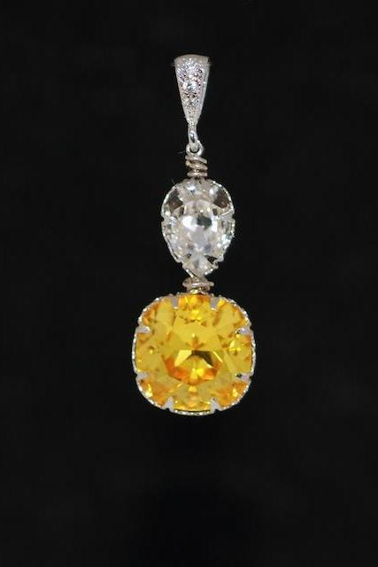 CZ Detailed Pendant with Swarovski Clear Teardrop and Light Topaz Cushion Cut Crystals - Wedding Jewelry, Bridal Jewelery (P067)