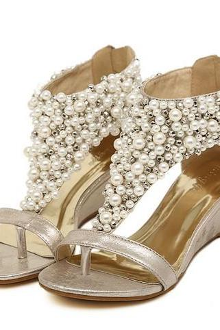 Beautiful Metallic Pearl Beaded Bohemian Style Wedge Sandals