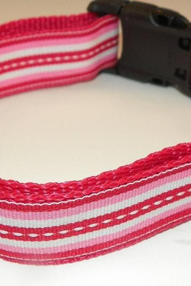 "Red, Pink & White Dog Collar - Red, White, Pink Stripes Size LG (15-24"")"