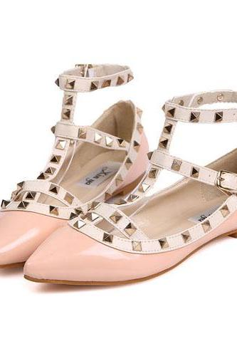 Gorgeous Pink Rivets Pointed Toe Flat Shoes