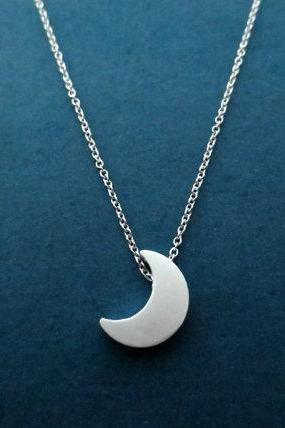 Beautiful, Silver, Crescent, Moon, Necklace