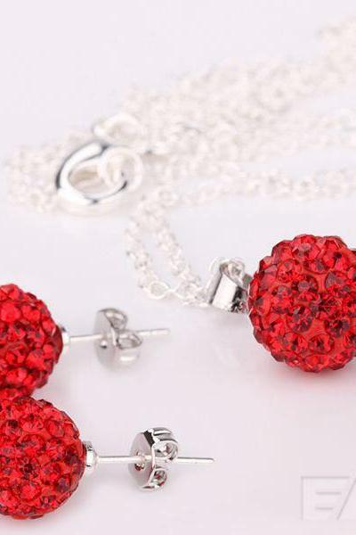 Hot sale red crystal jewelry set 10mm stud Earrings + crystal pendant Necklaces shamballa sets