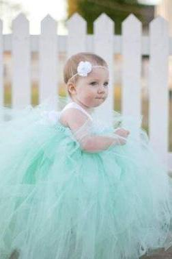 Mint Green Floral Wedding Girls Gown-Flower Girls Wedding Tulle Dress