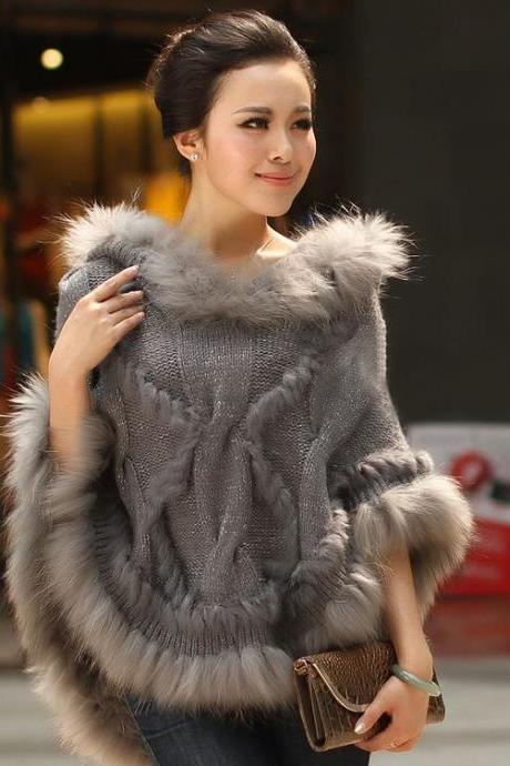 Poncho Gray Knitted Shawl Poncho Gray Poncho Shawl Scarf for Women