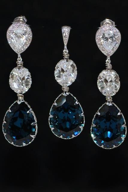 Earrings and Pendant Set (S554a) - CZ Earring with Swarovski Clear Oval Montana Blue Teardrop Crystal (E554), Matching Pendant (P070)