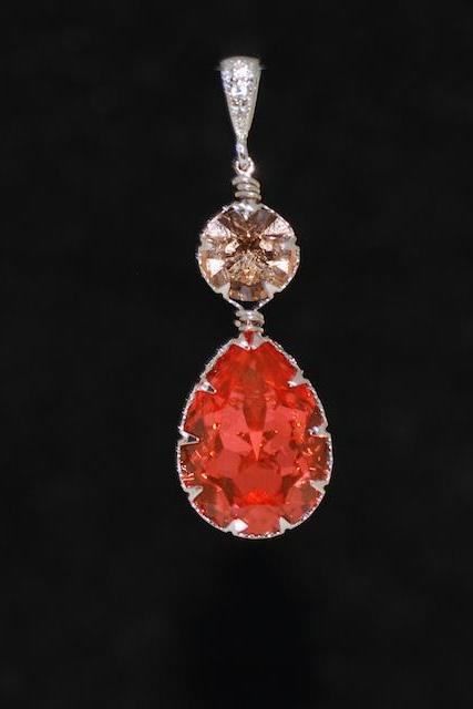 CZ Detailed Pendant with Swarovski Round Light Peach and Padparadscha Teardrop Crystals - Wedding Jewelry, Bridal Jewelery (P060)