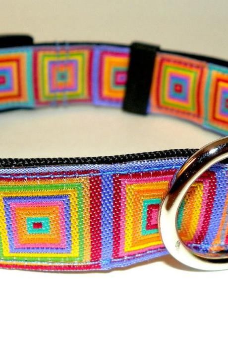 Adjustable Dog Collar - Bright & Colorful Jacquard Ribbon Size SM (10-15')