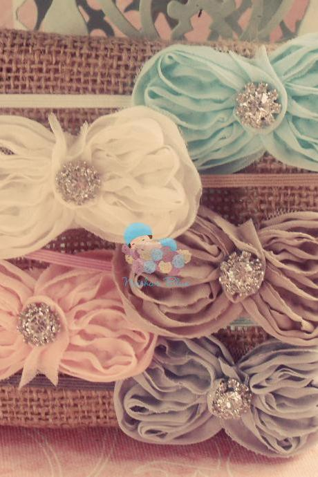 Baby Bow Headbands, Bow Headband, Shabby Chic Collection, Set of Five