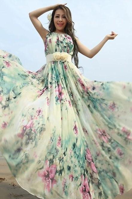 Summer Floral Long Beach Maxi Dress Lightweight Sundress Plus Size Summer Dress Holiday Beach Dress Bridesmaid dress Long Prom Dress