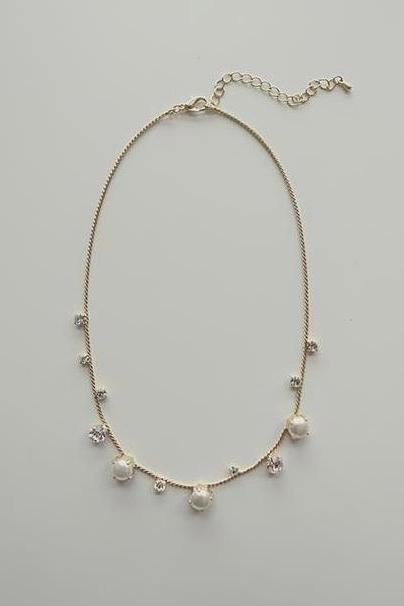 sweet pearl clavicular short chain necklace
