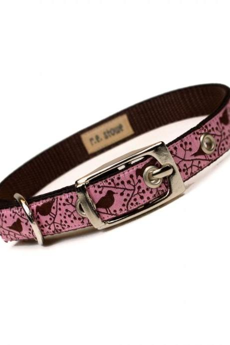 pink and brown modern birds metal buckle dog or cat collar (1/2 inch)