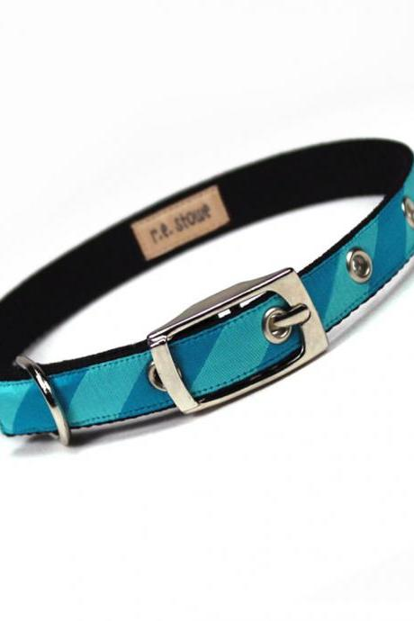 turquoise stripe metal buckle dog or cat collar (1/2 inch)