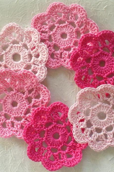 Pretty in Pink Handmade Applique Flowers, Mini Doilies - set of 12