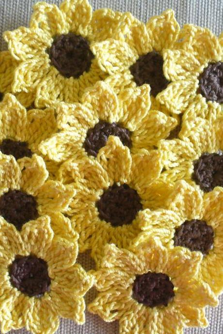 Crochet Sunflowers, Daisies, Small Appliques, Embellishments - set of 16