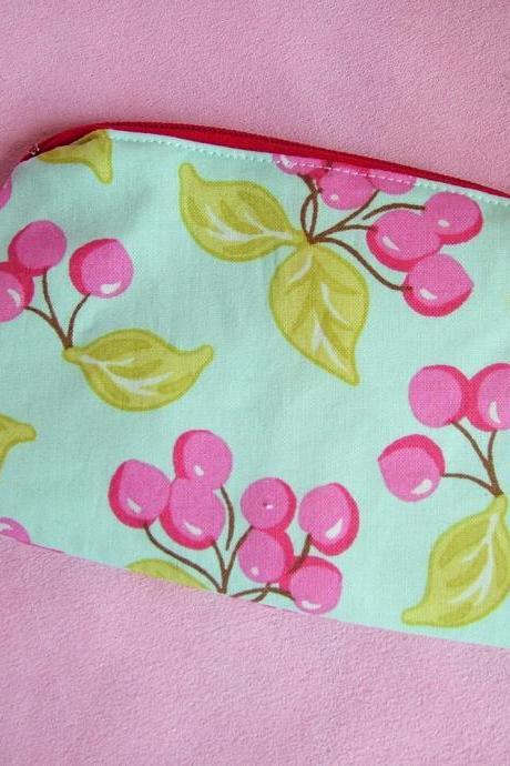 Kitsch Turquoise Cherry Zip Purse with Pink Polka Dot Lining