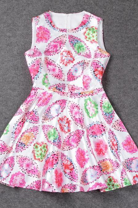 Summer fashion print sleeveless dress CC052716DR
