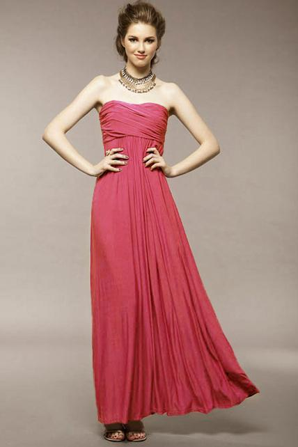 Amazing Twist Bust Pleated Waist Sleeveless Cotton Maxi Dress - Red