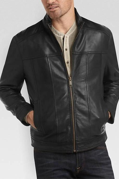 Men bomber leather jacket black