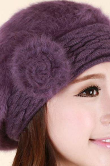 Purple Beret for Women Winter Warm Wool with Rabbit Fur