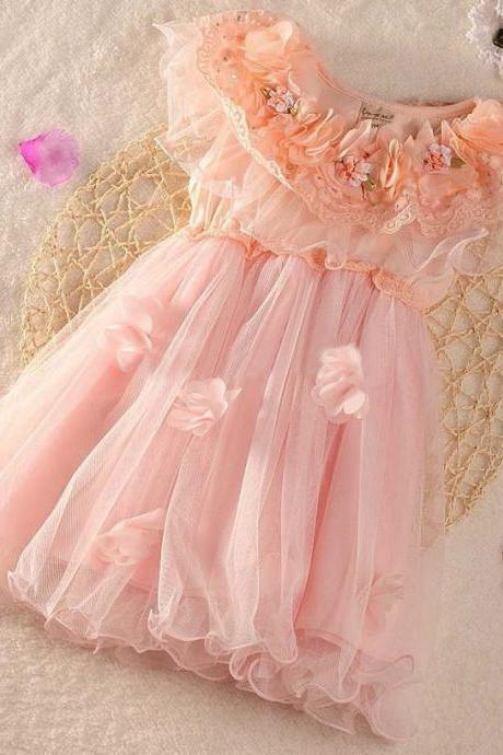 Pink Dress Pink 2T,3T Pink Dresses with Flower Decoration