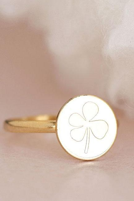 Gold Four Leaf Clover Ring, Shamrock Lucky Coin Disc Adjustable Ring