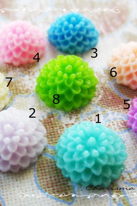 4 Mixed colors -you choose the color and how many- Resin Chrysanthemum Mum Flower Cabochons Accessory 10x4.5mm
