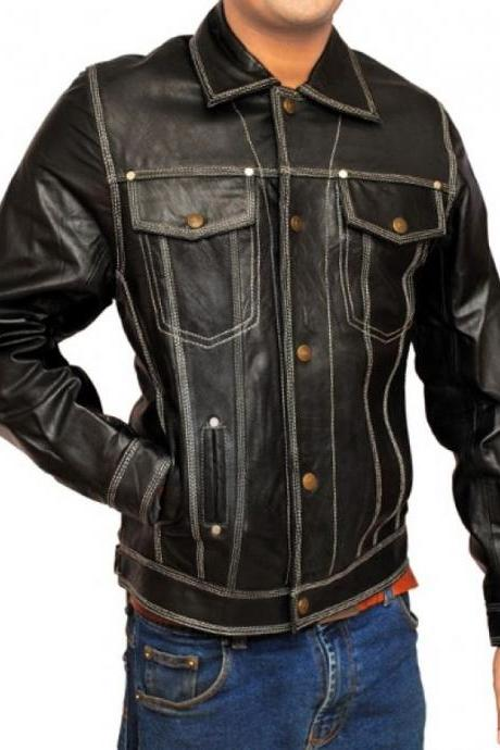 Handmade Black Front Double Pocket Leather Jacket