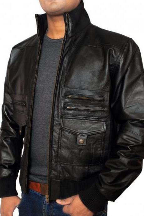 Handmade Black real Leather Jacket with five front pockets