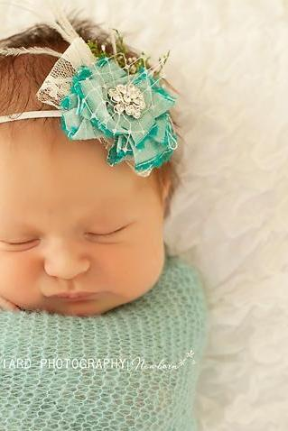 Mint Aqua Flower Baby Headband, Baby Flower Headband, Raw Silk Flower Headband