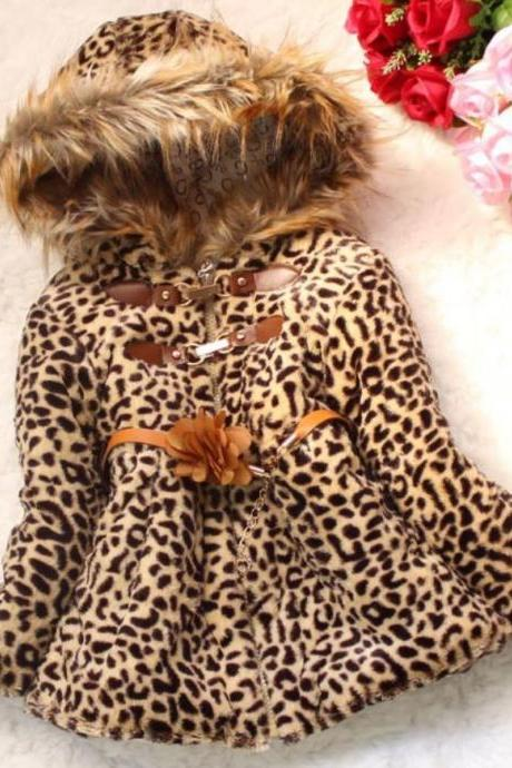 Leopard Faux Fur Jacket For 4T Girls-Leopard Jacket For Girls With Hood
