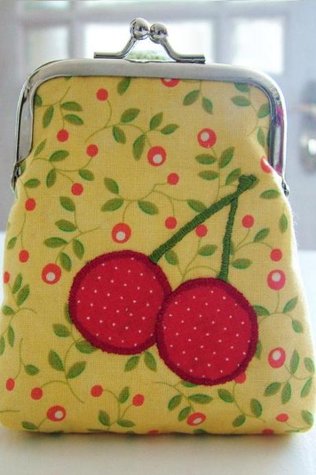 Yellow Coin Purse with Embroidered Cherries