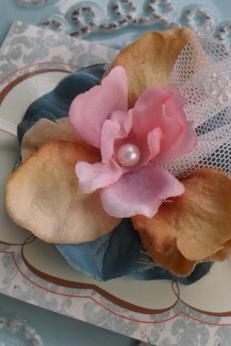 Pink, Antique Taupe and Blue Headband in Ultra Thin White Stretch Ribbon: Great Photoprop, The ELENA