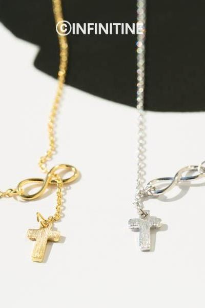 Infinity and cross pendant lariat necklace,,NK2306