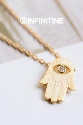 Hamsa evil eye necklace,N175K
